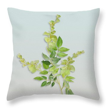 Yellow Tiny Flowers Throw Pillow