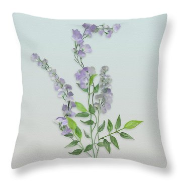 Purple Tiny Flowers Throw Pillow