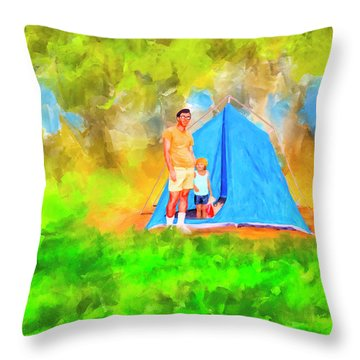 Throw Pillow featuring the mixed media Summer Memories On Open Pond by Mark Tisdale