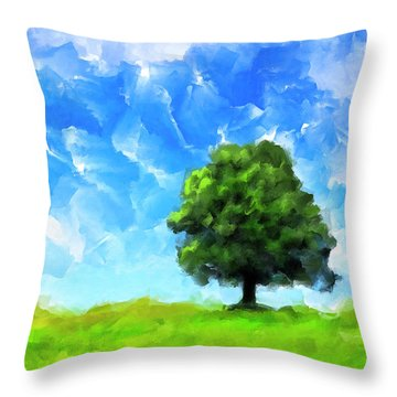 Throw Pillow featuring the mixed media Solitude - Lone Tree Landscape by Mark Tisdale