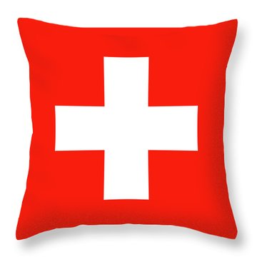Throw Pillow featuring the digital art Flag Of Switzerland by Bruce Stanfield