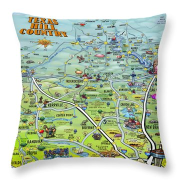 Throw Pillow featuring the digital art Texas Hill Country Cartoon Map by Kevin Middleton