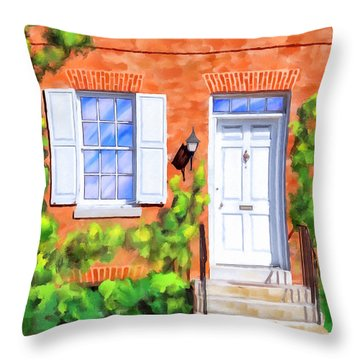 Throw Pillow featuring the mixed media Cozy Rowhouse Style by Mark Tisdale