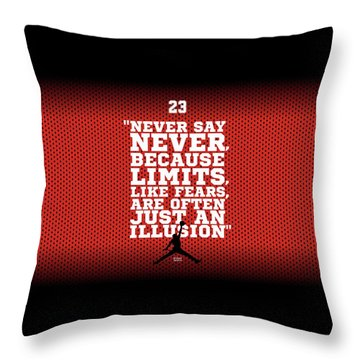 Never Say Never Gym Motivational Quotes Poster Throw Pillow