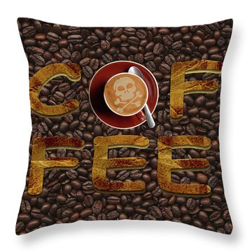 Coffee Funny Typography Throw Pillow by Georgeta Blanaru