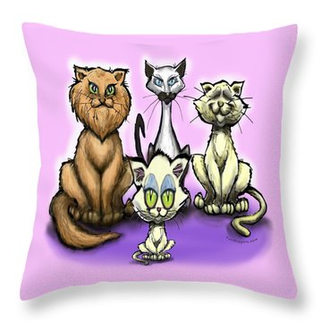 Cats Throw Pillow by Kevin Middleton