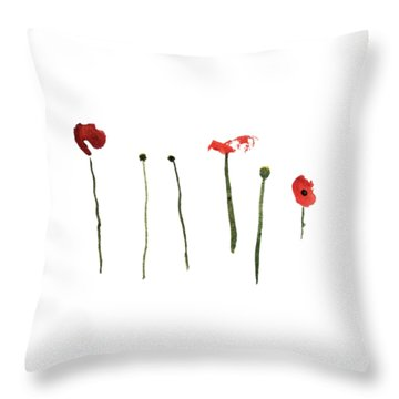 Red Poppies Throw Pillow by Stephanie Peters
