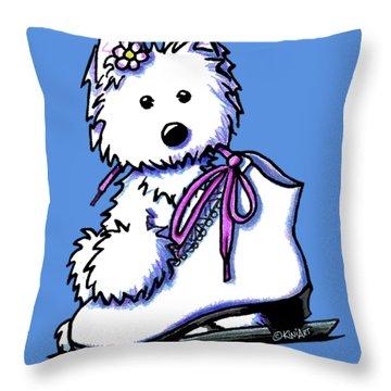 Westie Skater Girl Throw Pillow