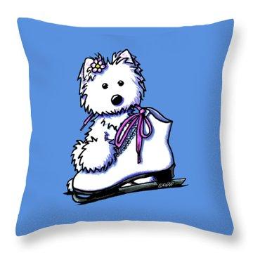Westie Skater Girl Throw Pillow by Kim Niles