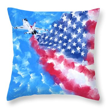 Throw Pillow featuring the mixed media Skies Over America by Mark Tisdale