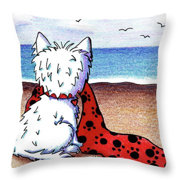 Kiniart Beach Blanket Westie Throw Pillow by Kim Niles