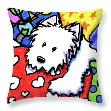 Pillow Pile Westie Throw Pillow by Kim Niles