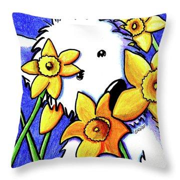 Kiniart Westie Daffodils Throw Pillow by Kim Niles
