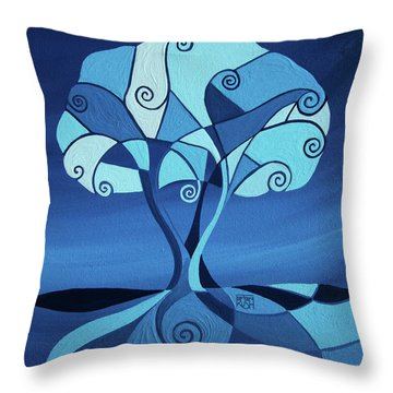 Enveloped In Blue Throw Pillow