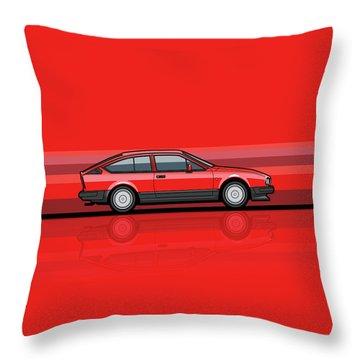 Alfa Romeo Gtv6 Red Stripes Throw Pillow