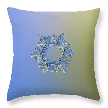 Snowflake Photo - Sunflower, Golden Version Throw Pillow by Alexey Kljatov