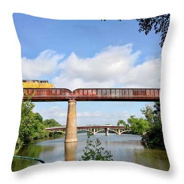 Train Across Lady Bird Lake Throw Pillow by Felipe Adan Lerma