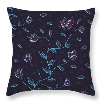 Glowing Blue Abstract Flowers Throw Pillow