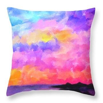 Throw Pillow featuring the mixed media Sunset Serenade Memories by Mark Tisdale