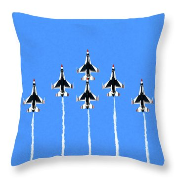 Throw Pillow featuring the mixed media Thunderbirds Flying In Formation by Mark Tisdale
