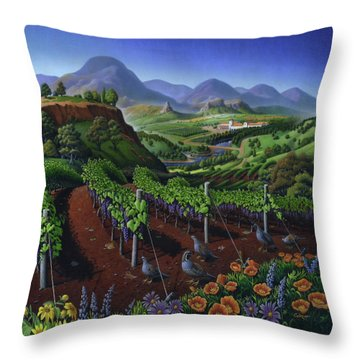 Quail Strolling Along Vineyard Wine Country Landscape - Vintage Americana Throw Pillow