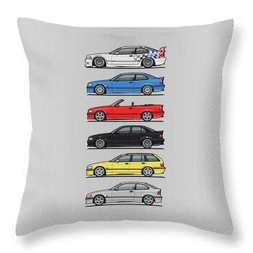 Stack Of E36 Variants Throw Pillow