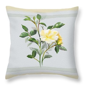 Yellow Watercolor Rose Throw Pillow