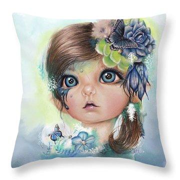 Throw Pillow featuring the mixed media Indigo - Butterfly Keeper - Munchkinz By Sheena Pike  by Sheena Pike