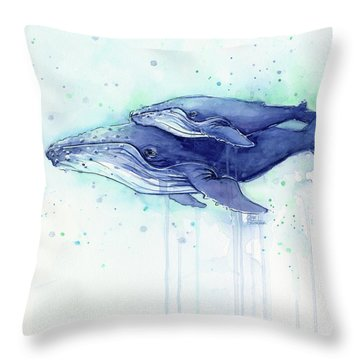 Humpback Whale Mom And Baby Watercolor Throw Pillow