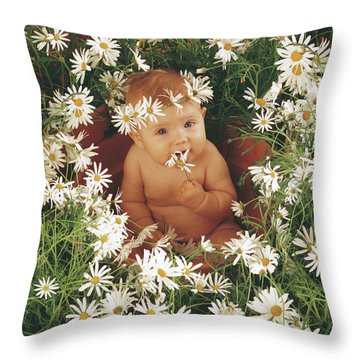 Daisies Throw Pillow by Anne Geddes