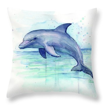 Dolphin Watercolor Throw Pillow by Olga Shvartsur