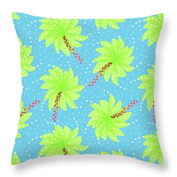 Green Flowers In The Wind Throw Pillow