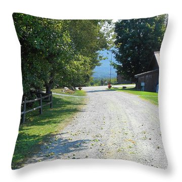 Trapp Family Lodge Rustic Road Throw Pillow by Felipe Adan Lerma