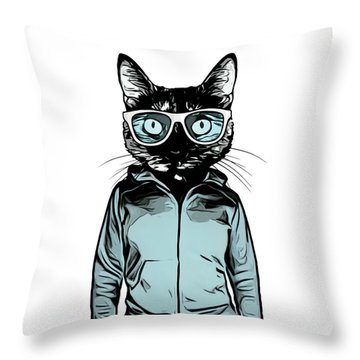 Cool Cat Throw Pillow by Nicklas Gustafsson
