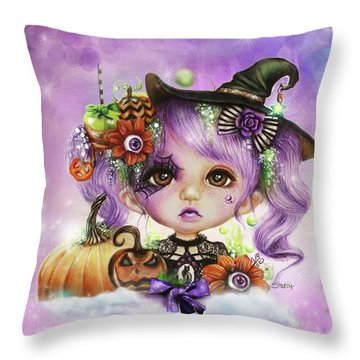 Throw Pillow featuring the drawing Halloween Hannah - Munchkinz Character  by Sheena Pike