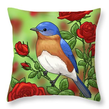 New York State Bluebird And Rose Throw Pillow