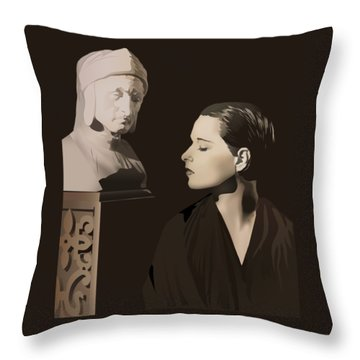 Louise Brooks With Bust Of Dante Alighieri  Throw Pillow by Vintage Brooks