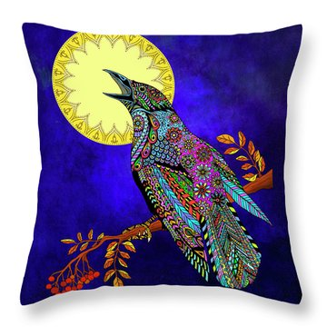 Throw Pillow featuring the drawing Electric Crow by Tammy Wetzel