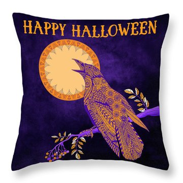 Throw Pillow featuring the drawing Halloween Crow And Moon by Tammy Wetzel