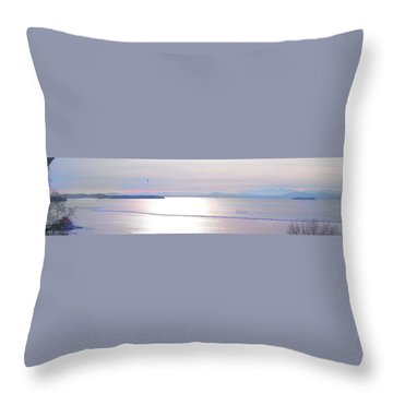 Lake Champlain South From Atop Battery Park Wall Panorama Throw Pillow