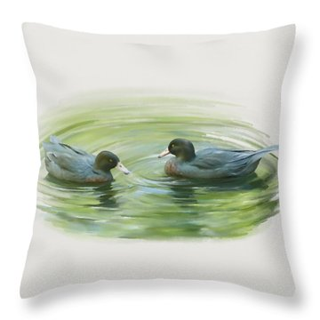 Blue Ducks  Throw Pillow