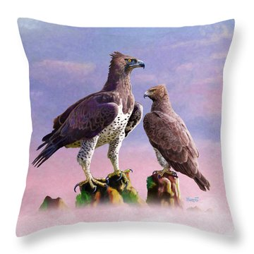 Martial Eagles Throw Pillow by Anthony Mwangi