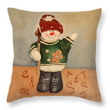 Throw Pillow featuring the painting Snowman Junior by Angeles M Pomata
