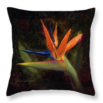 Extravagance - Tropical Bird Of Paradise Flower Throw Pillow