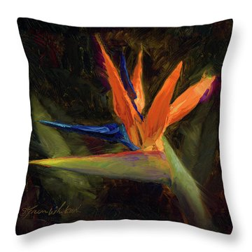 Extravagance - Tropical Bird Of Paradise Flower Throw Pillow