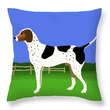 German Shorthaired Pointer In A Field Throw Pillow