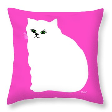 Cartoon Plump White Cat On Pink Throw Pillow