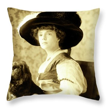 Vintage Lady With Lapdog Throw Pillow
