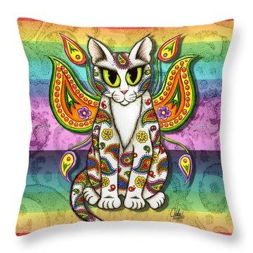 Rainbow Paisley Fairy Cat Throw Pillow