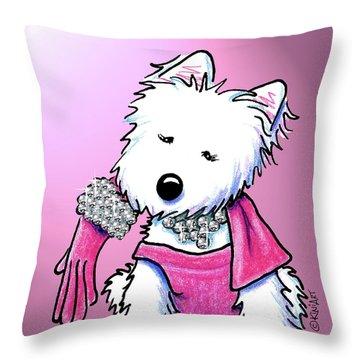 Kiniart Westie Glam Throw Pillow by Kim Niles